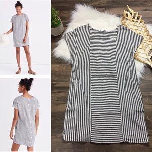 Daphne Striped Linen Mini Shift Dress Button Back